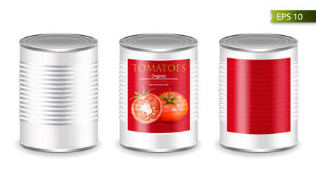 Canned metallic set Vector realistic mock up. Product placement. 3d detailed illustrations
