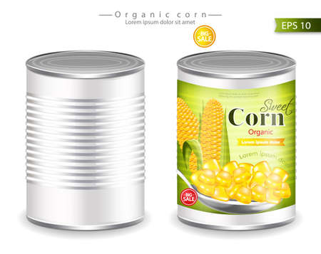 Metallic canned corn Vector realistic. Product placement. Label design template. 3d illustration