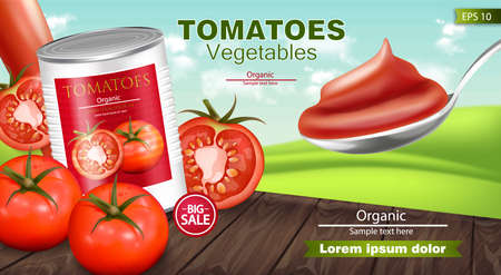 Canned tomatoes Vector realistic mock up. Product placement. 3d detailed illustration