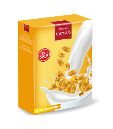 Cornflakes package isolated Vector realistic. Product placement mock up. Label design. 3d detailed illustrations Vettoriali