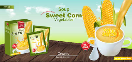 Sweet corn soup Vector realistic. Product placement mock up. Green fields background. 3d illustration Ilustración de vector