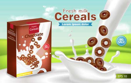 Biologische granen in melk splash Vector realistische mock up. Productplaatsing labelontwerp. 3D-gedetailleerde illustratie