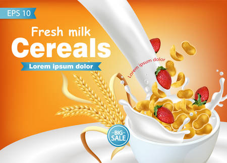 Cornflakes in milk splash Vector realistic mock up. Product placement label design. 3d detailed illustration Illustration