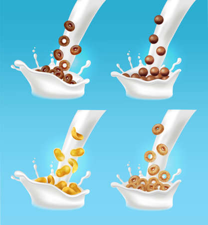 Milk and cereals splash Vector realistic. 3d detailed effects illustration