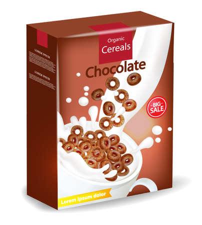 Paquet de céréales au chocolat bio Maquette réaliste de vecteur. Conception d'étiquettes de placement de produits. illustrations détaillées en 3D