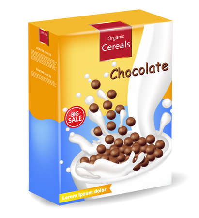 Organic Chocolate cereals package Vector realistic mock up. Product placement label design. 3d detailed illustrations