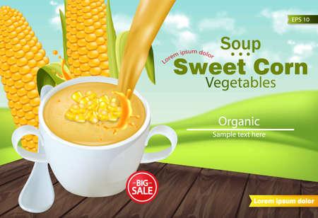 Sopa de maíz dulce en un cuenco Vector realista. Maqueta de colocación de productos. Fondo de campos verdes. Ilustraciones 3d