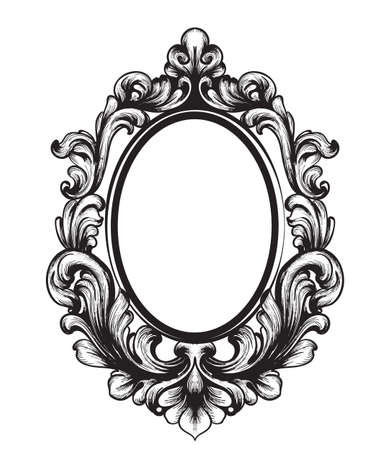 Baroque Mirror frame. Vector French Luxury rich intricate ornaments. Victorian Royal Style decor