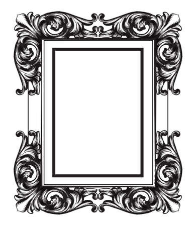 Baroque Mirror frame. Vector French Luxury rich intricate ornaments. Victorian Royal Style decors