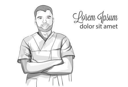 Succesful self confident doctor smiling Vector sketch storyboard. Detailed character illustration Ilustração