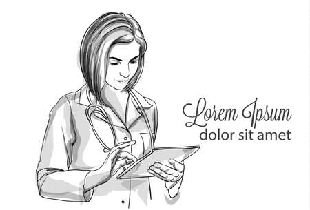 Woman doctor writing notes Vector sketch storyboard. Detailed character illustration