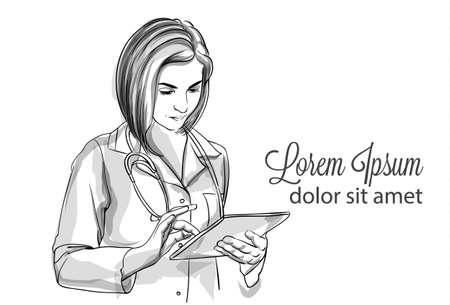 Woman doctor writing notes Vector sketch storyboard. Detailed character illustration Reklamní fotografie - 124746228