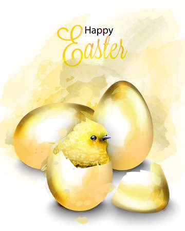 Happy Easter card with cute chicken Vector. Watercolor golden eggs illustration 일러스트