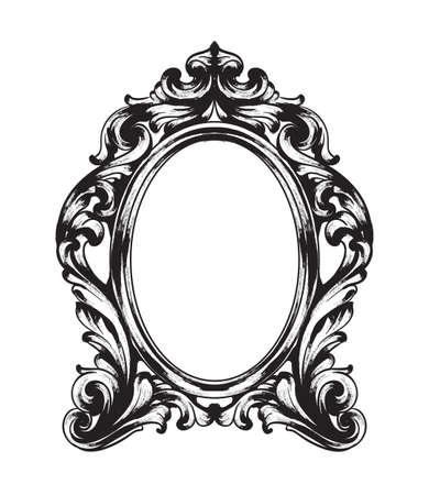 Specchio barocco cornice. Ornamenti intricati ricchi di lusso francese di vettore. Decorazioni in stile vittoriano reale