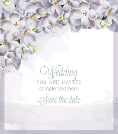 Wedding card spring hydrangea flowers Vector. Romantic floral invitation or greeting card decoration. Women day, Valentines Day, sales and other event