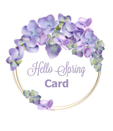Spring hydrangea wreath Vector watercolor. Romantic floral invitation or greeting card decoration. Women day, Valentines Day, sales and other event