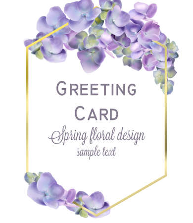 Wedding card with spring hydrangea flowers Vector. Romantic floral invitation or greeting card decoration. Women day, Valentines Day, sales and other event