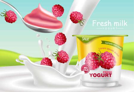 Frambozenyoghurt Vector realistisch. Mock-up voor productplaatsing. Verse yoghurt splash met fruit. Etiketontwerp. 3D-gedetailleerde illustratie