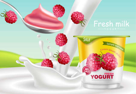 Raspberry yogurt Vector realistic. Product placement mock up. Fresh yogurt splash with fruits. Label design. 3d detailed illustration