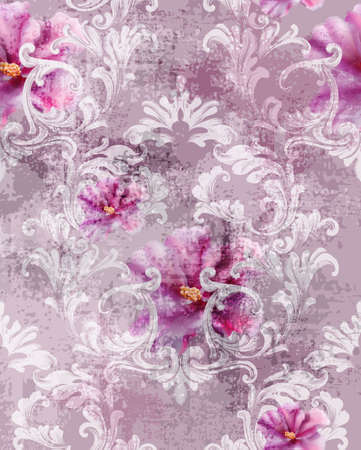 Baroque texture pattern with roses Vector. Floral ornament decoration. Victorian engraved retro design. Vintage fabric decors. Luxury fabric