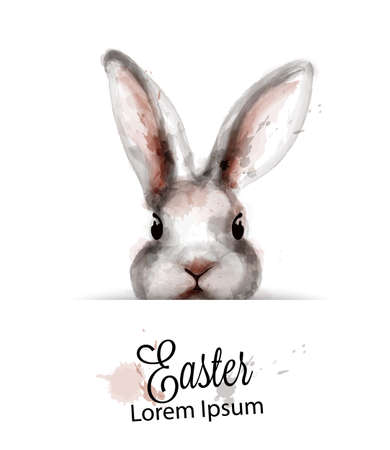 Easter Bunny rabbit Vector watercolor. Cute spring card. Easter holiday greeting