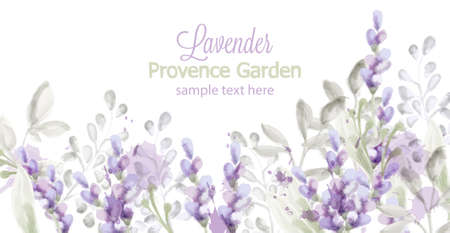 Lavender card Vector watercolor. Provence flowers banner backgrounds Stock Illustratie