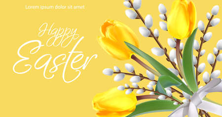 Happy Easter card with yellow tulips and willow branches. Vector realistic 3d style