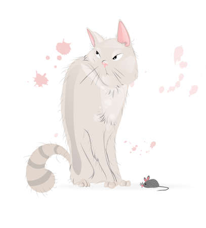 White Cat and a mouse Vector cartoon character. Pussy cat annoyed look