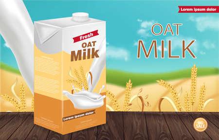 Paquet de lait d'avoine Vector réaliste. Maquette de placement de produit. Conception d'étiquettes. Éclaboussures de lait. Table en bois
