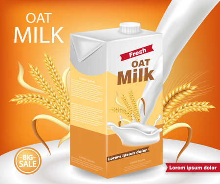 Oat milk package Vector realistic with splash. Product placement mock up. Label design. Golden backgrounds Vettoriali