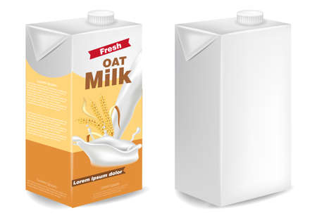Oat milk packages isolated Vector realistic. Product placement mock up. Label design templates