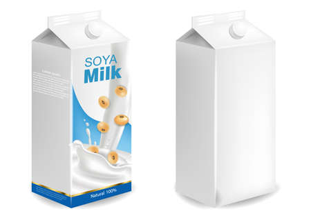 Soy milk mock up isolated Vector realistic. Milk box product placement. Label designs