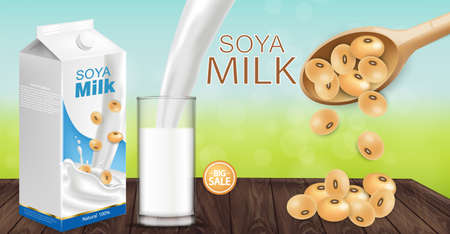 Soy milk mock up ads with splash Vector realistic. Milk box product placement. Label design. 3d detailed beans. Natural fields bokeh backgrounds