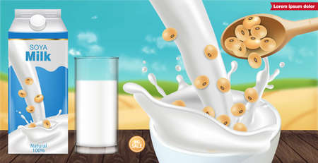 Soy milk box mock up ads with splash Vector realistic. Milk box product placement. Label design. 3d detailed beans. Natural fields bokeh backgrounds