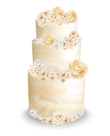 Wedding cake with flowers Vector watercolor. Vintage delicious white cake with decorations