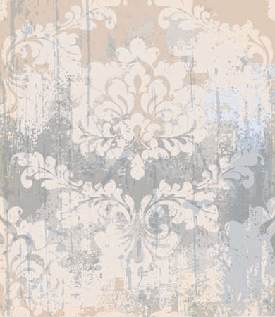 Vector rococo pattern texture. Damask ornament grunge background. Vintage royal fabric rust effect. Victorian exquisite floral template