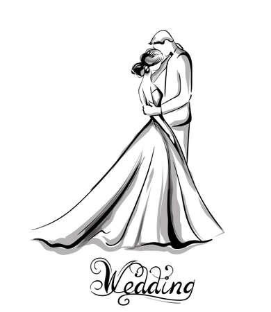 Silueta de pareja de boda Arte de línea vectorial. Hermosa novia y el novio. Plantilla para tarjetas de diseño