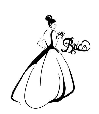 Bride silhouette Vector line art. Beautiful long dress . Template for design cards