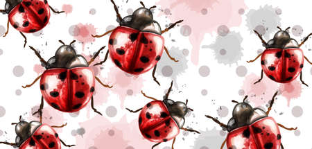 Ladybugs pattern texture watercolor Vector background. Retro style cards Ilustracja