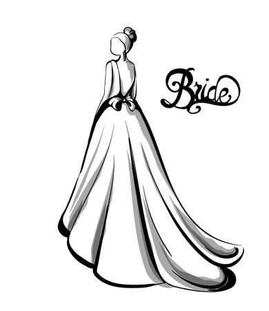 Wedding bride silhouette Vector line art. Beautiful long dress . Template for design card Vector Illustration