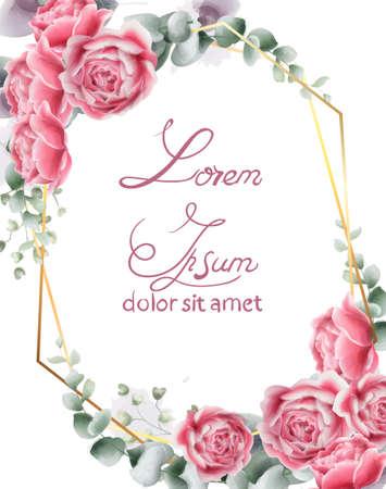 Partecipazione di nozze con fiori di rosa Vector. Cornice floreale vintage Vintage