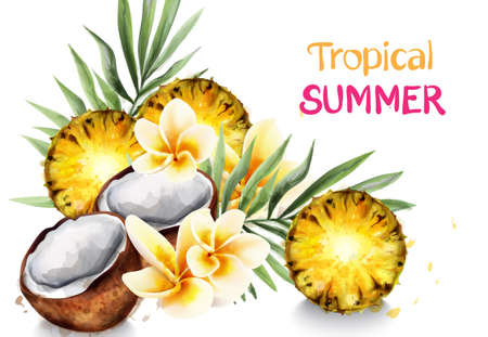 Avocado and pineapple Vector watercolor tropical banners 矢量图像