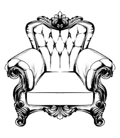 Classic armchair Vector. Royal style decotations. Victorian ornaments engraved. Imperial furniture decor illustration line art