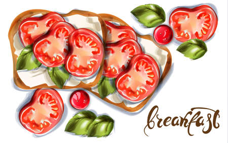 Breakfast toast with goat cheese and cherry tomatoes Vector watercolor. Delicious meal Vettoriali