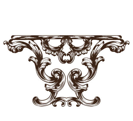 Vintage baroque table. Detailed rich ornament furniture vector illustration graphic line art Vettoriali