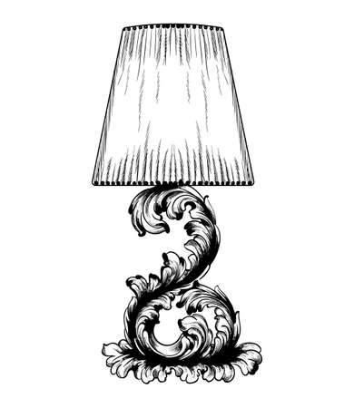 Vector baroque table lamp line art. Classic royal decor ornaments. Black and white