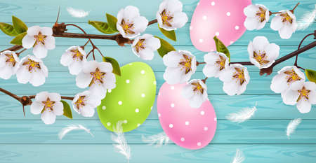 Cherry blossom and Easter colorful eggs Vector realistic. Spring holiday banner. 3d detailed poster template