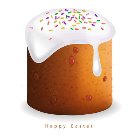 Easter Traditional sweet bread Vector realistic. Willow branches. Holiday cards Illusztráció