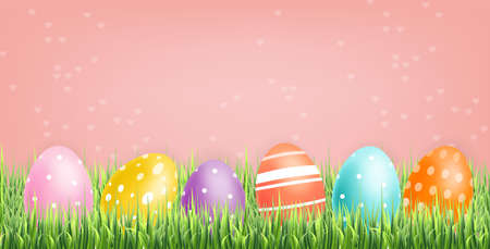 Colorful Easter eggs Vector realistic. Spring holiday banner. 3d detailed poster template