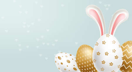 Easter painted golden eggs Vector realistic collection. Abstract ornamented cute design. 3d detailed set Illustration